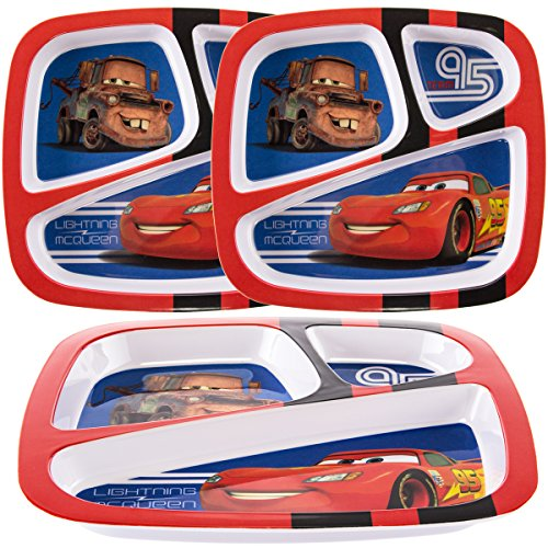 Divided Party Plates - Zak (3 Pack) Disney Pixar Cars Character Plastic 3-Section Divided Kids Party Plates
