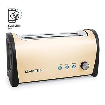 Klarstein Cambridge Tostador • 4 tostadas • Funciones descongelado, recalentamiento, mantenimiento calor • 1400 W • Diseño alargado • 6 niveles • ...