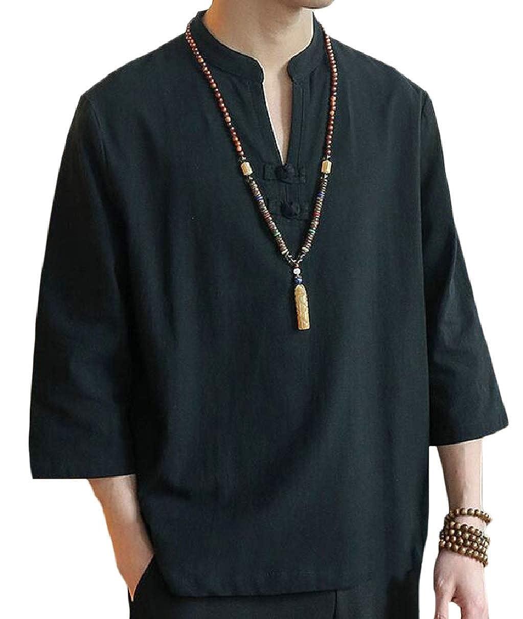 YIhujiuben Mens Chinese Embroidered Linen Shirt Retro V Neck Tees Shirt