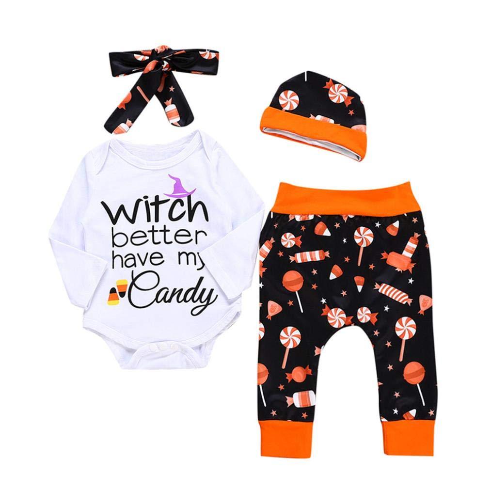 Suma-ma (3M-18M) Infant Baby Girls Boys Long Sleeves Halloween Print Khaki + Lollipop Print Pants + Hat + Print Romper Headband Suit