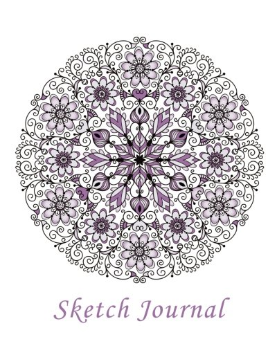 Sketch Journal: Flower Mandala (Purple) 8x10 - Pages are LINED ON THE BOTTOM THIRD with blank space on top (8x10 Mandala Design Sketch Journal Series)
