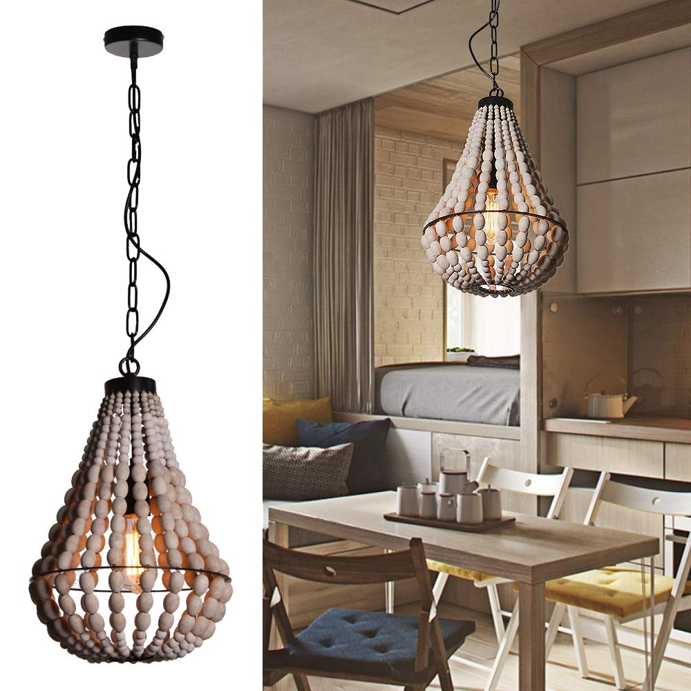 Wereal Pendant Lighting 1 Light Vintage Shade Modern Wooden Bead Europe Style Light,E26 Bulb Nature Finsh Hanging Ceiling Fixture Lamp for Kitchen