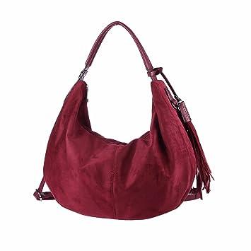 de5cd22bc6cb4 OBC ital-Design Damen Tasche Bowling Hobo-Bag Shopper Fransen Handtasche  Henkeltasche Schultertasche Beuteltasche