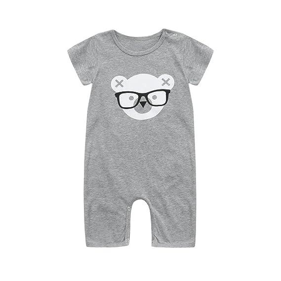 POLP Bebé Monos (◉ω◉Monos Mujer con Cordón,Recién Nacido Bebé Unisex Impresión Camiseta Monos Algodón Mameluco,Verano Pijama Niños Niñas Manga Corta ...