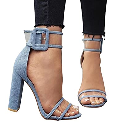 69e065d7ea3c LALA IKAI Women s Sexy Ankle Strap Sandal Transparent Open Toe Chunky High Heel  Shoes (US