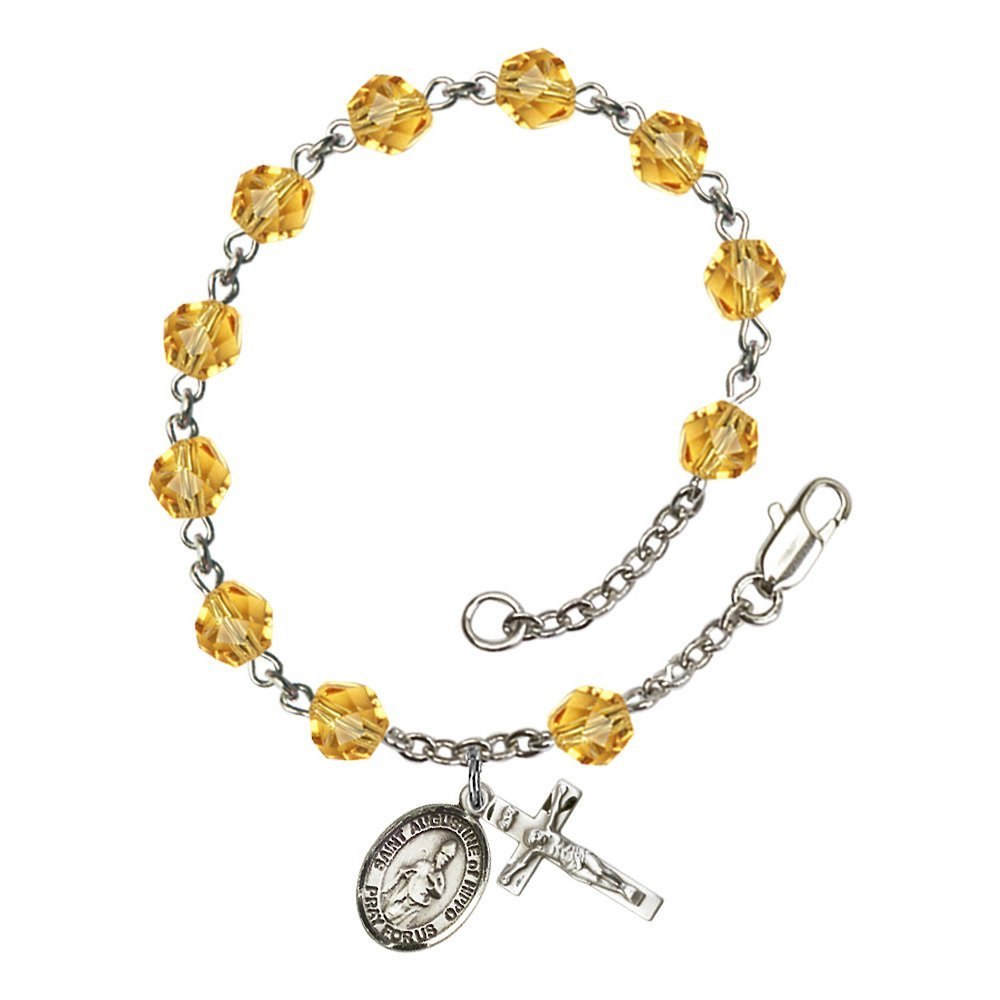 Bonyak Jewelry St. Augustine of Hippo Silver Plate Rosary Bracelet 6mm November Yellow Fire Polished Beads Crucifix Size 5/8 x 1/4 Medal
