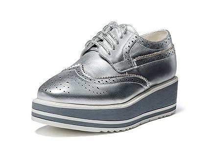 26001348855 La Sra primavera y otoño zapatos con densamente con los zapatos de fondo  grueso del cordón
