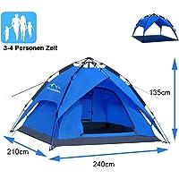Campmore Wurfzelt 2/3/4 Personen wasserdicht, Sekundenzelt Campingzelt Kuppelzelt 240x210x135cm Blau