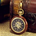 ManChDa Steampunk Mechanical Hand Wind Skeleton Pocket Watch Roman Copper Wooden with Chain Gift Box 7