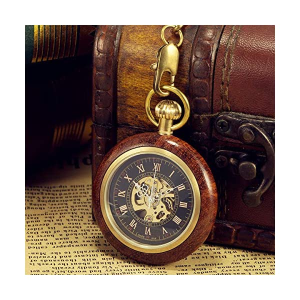 ManChDa Steampunk Mechanical Hand Wind Skeleton Pocket Watch Roman Copper Wooden with Chain Gift Box 4