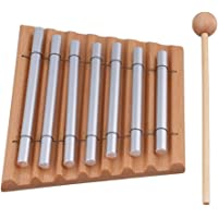 Yibuy 7 Tone Woodstock Chime Eastern Energies Meditation with Wooden Mallet and 2 Aluminum Tube Percussion Musical Instrument