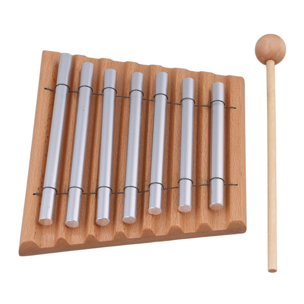 Yibuy 7 Tone Woodstock Chime Eastern Energies Meditation with Wooden Mallet and 2 Aluminum Tube Percussion Musical Instrument etfshop M7170821004