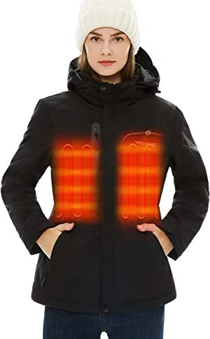 [2020 Upgrade] Women's Heated Jacket with Battery Pack 5V, Heated Coat with Detachable Hood Windproof