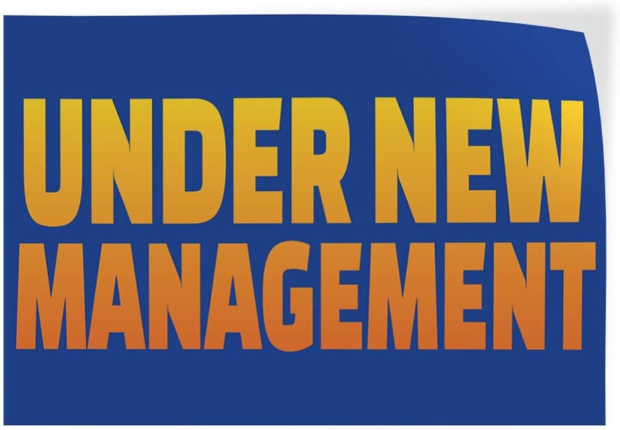 Decal Sticker Multiple Sizes Under New Management #3 Business Under New Management Sandwich Banner Outdoor Store Sign Blue Set of 2 54inx36in