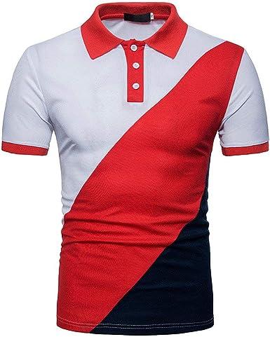 Los Hombres De Los Color del De Camisa Polo Hombres Ropa Festiva del Bloque del Botón De La Camisa De Manga Corta Camiseta Blusas Túnica Tops Diseñador De Venta S 2XL: Amazon.es: