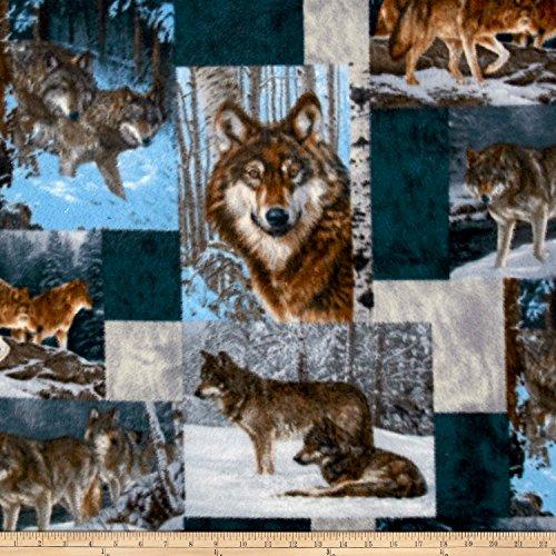 David Textiles Wildlife Fleece Prints Wolves Pachwork Fleece Multi Fabric by The Yard ()