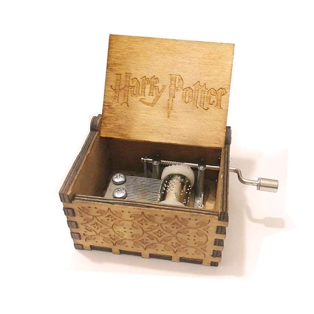 Pongaps Wooden Hand Crank Harry Potter Music Box Classic Vitrage Wood Hand Music Box Theme Music Box Best Gift for Kids,Friend Music Boxes