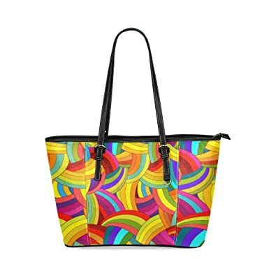 7748ab383de7 Image Unavailable. Image not available for. Color  Custom Unique Leather  Tote Bags Colorful Rainbow Top Handle Shoulder Bags Handbags For Women Girls