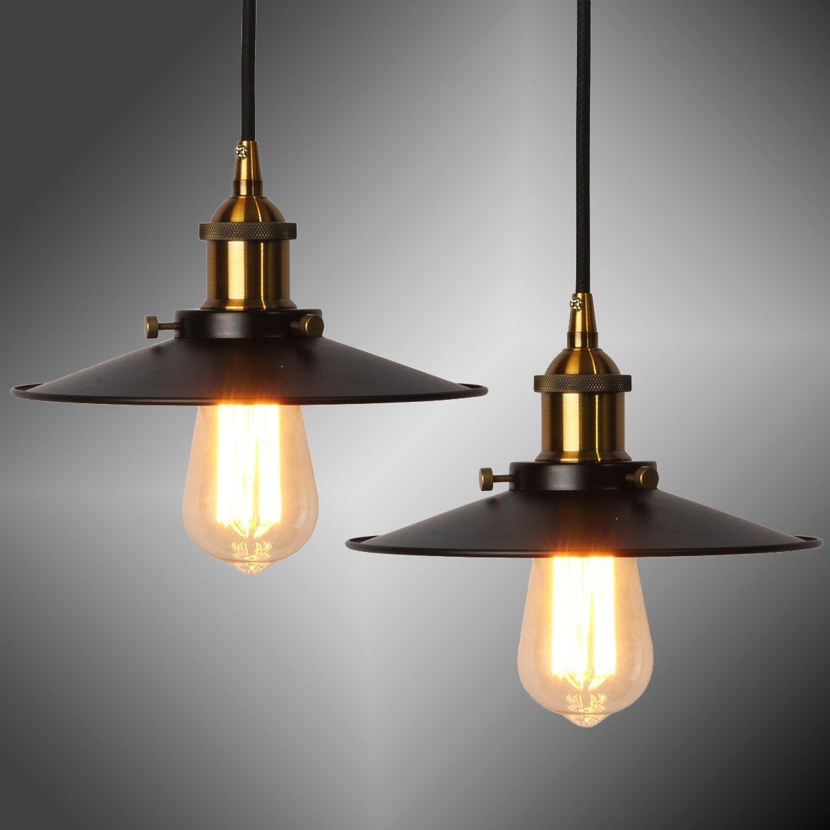 Vintage Pendelleuchte Elfeland R Retro Industrielle Deckenleuchte Loft Lampe Schwarz Eisen Lampenschirm E27 Keramik