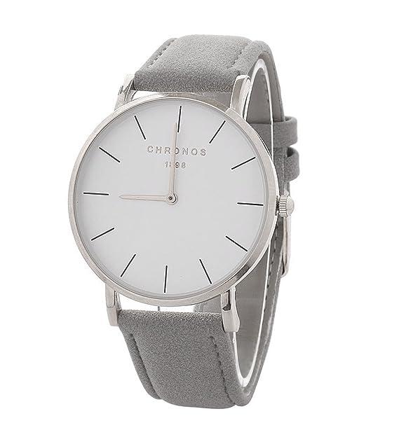 Relojes Mujer Reloj de Cuarzo Relojes Hermosas Correa de PU Cuero Artificial Relojes de la Mujer Hombre niña,Gris-Plata: Amazon.es: Relojes