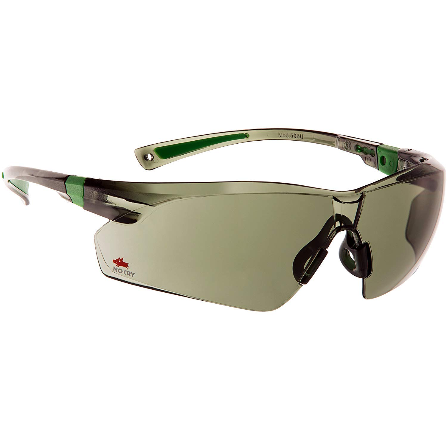 NoCry Work and Sport Safety Sunglasses with Green Tinted Scratch Resistant Wrap-Around Lenses and No-Slip Grips, UV 400 Protection. Adjustable, Black & Green Frames 506UGT