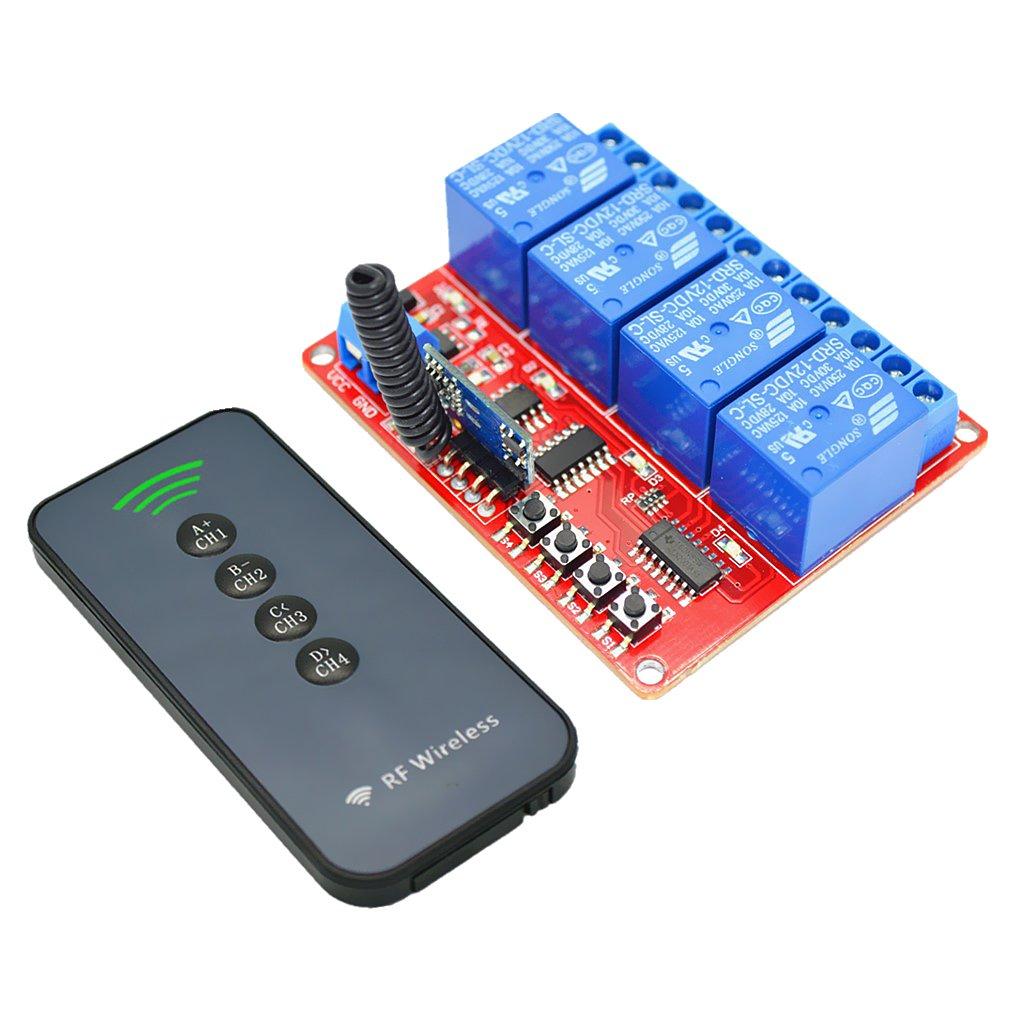 FLAMEER 433 Mhz 12V 4CH RF 30m Interruptor De Control Remoto Inalá mbrico + Transceptor