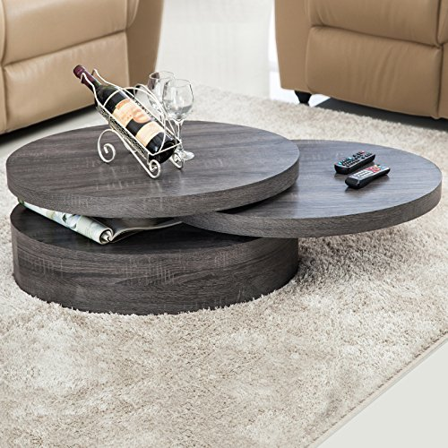 Oval Rotating Coffee Table: SUNCOO Oak Rotating Coffee Table With 3 Layers Modern Save