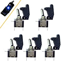 HOTSYSTEM Rocker Toggle Switch SPST ON/OFF 12V/20A LED Illuminated 3Pin for Car Truck Boat Motorcycle 5-pack blue light…