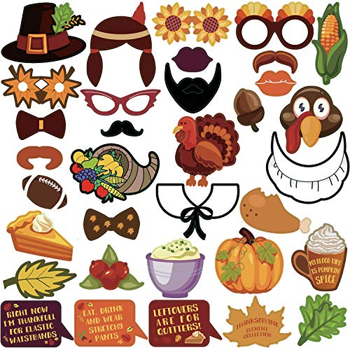 (KatchOn Thanksgiving Photo Booth Props 34 DIY Kits Thanksgiving Day Decorations,Happy Thanksgiving Party Favor, Element of Pumpkin Turkey Bread Corn Fruits Maple Leaves for Autumn Party Fall Party)