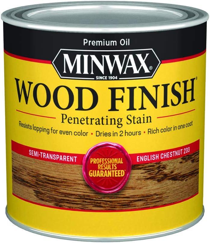 Minwax 223304444 - Tinte para madera interior penetrante 1/2 pinta, castaño penetrante inglés