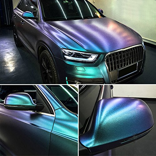 ATMOMO Purple to Lake Blue Turquoise Color Change Glossy Color DIY Car Body Films Vinyl Car Wrap Sticker Decal Air Release Film Vari-Colour Film 1.52Mx75CM