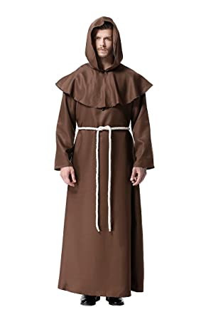 cf2c236f60 Amazon.com  DreamCos Friar Robe Medieval Renaissance Cowl Hooded Monk  Costume  Clothing