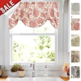 Tie-up Valances for Windows Linen Textured Adjustable Tie Up Shade Window Curtain Rod Pocket Rustic Jacobean Floral Printed Tie-up Valance Curtains 20 Inches Long (1 Panel, Red)