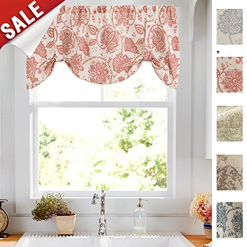 Tie-up Valances for Windows Linen Textured Adjustable Tie Up Shade Window Curtain Rod Pocket Rustic Jacobean Floral Printed Tie-up Valance Curtains 20 Inches Long (1 Panel, (Red Window Treatment)