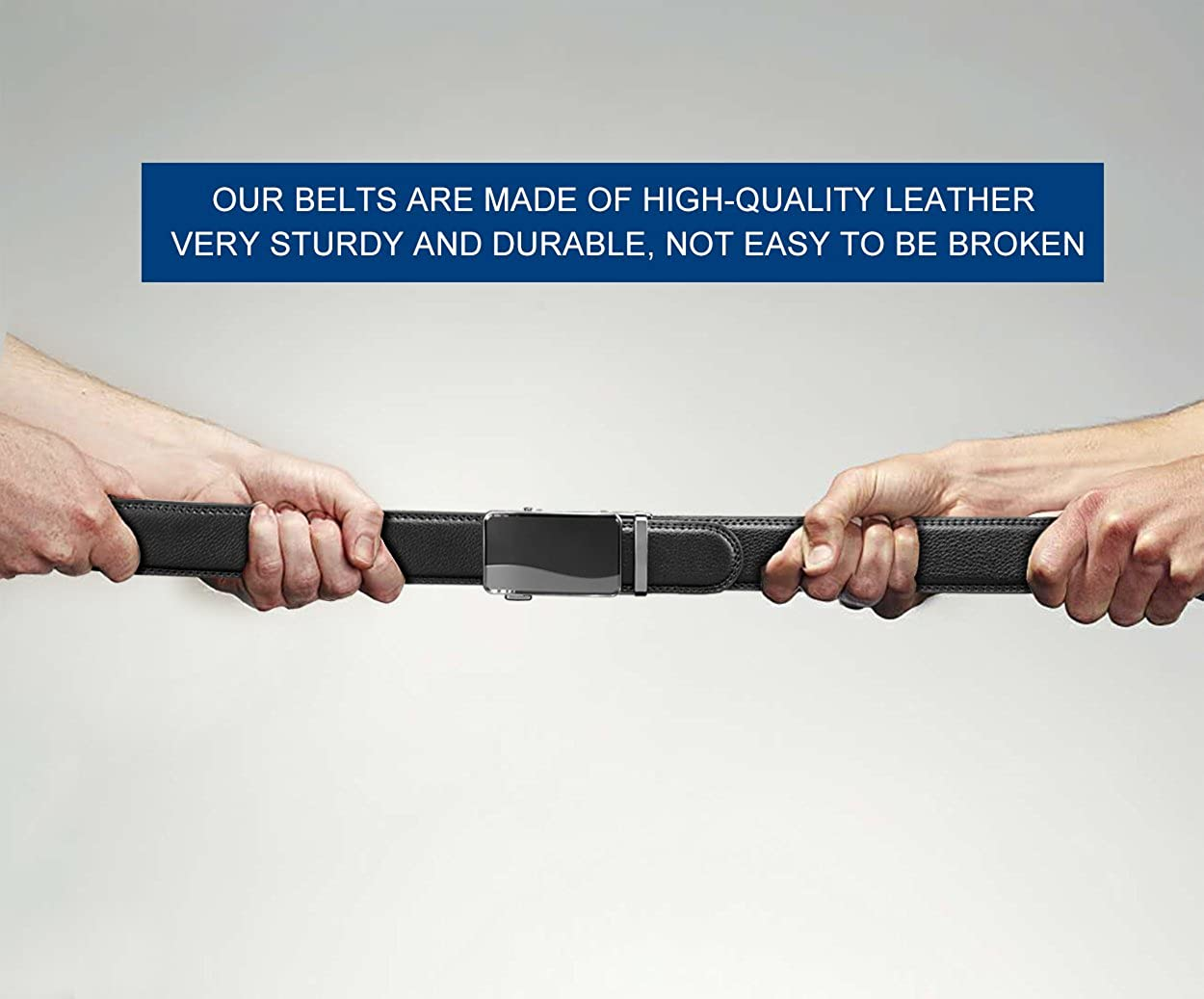 28-58 Big and Tall Mens Belt,Black Adjustable Holeless Click Ratchet Genuine Leather Belts
