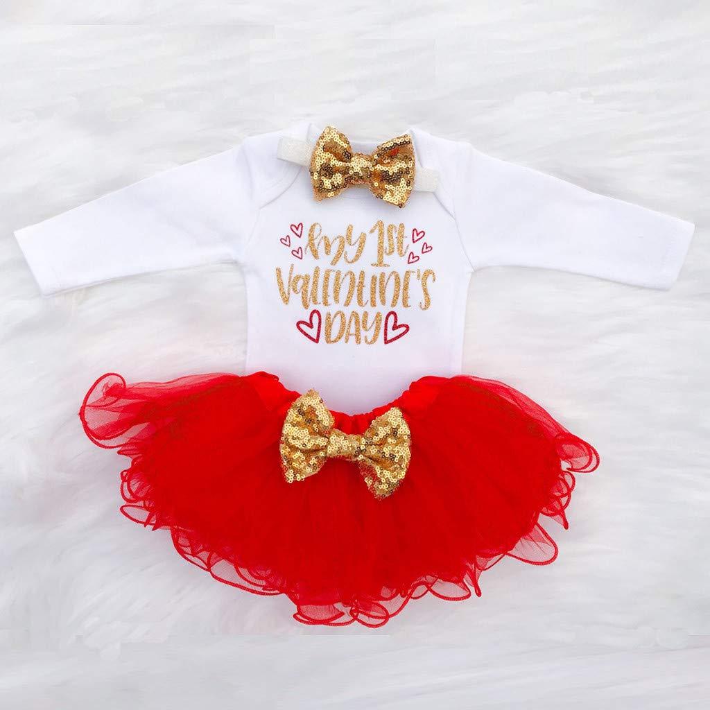 Athli Newborn Infant Baby Girl Letter Romper+Tutu Tulle Skirt Valentine Outfits Set