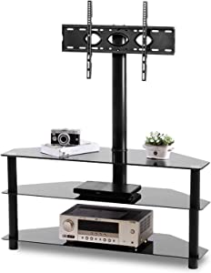 TAVR Glass Floor TV Stand with Swivel Mount for 32 37 43 47 50 55 60 65 70 inch Plasma LCD LED OLED Flat/Curved Screen TV Height Adjustable 3-in-1 Corner TV Stand Mount,Hold up to 110 lbs,3-Tier,Black