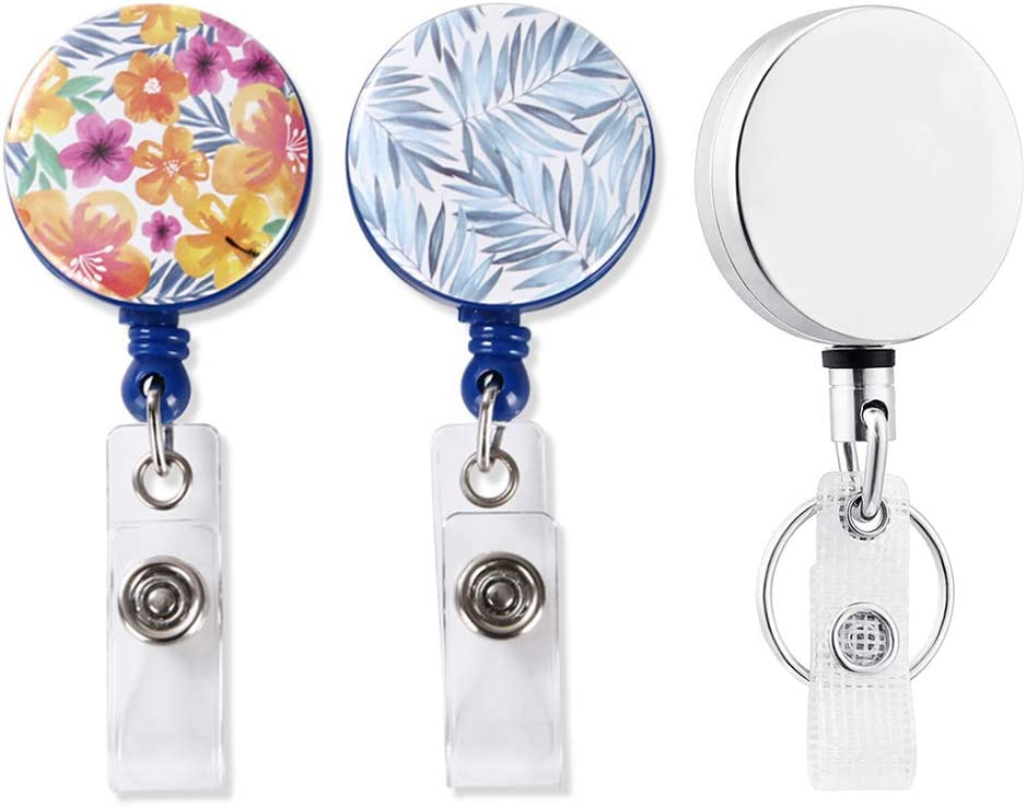 ID Badge reels, Heavy Duty ID Card Holders with Clip, Retractable Badge Holder for Office Worker Doctor Nurse (3 Pack)