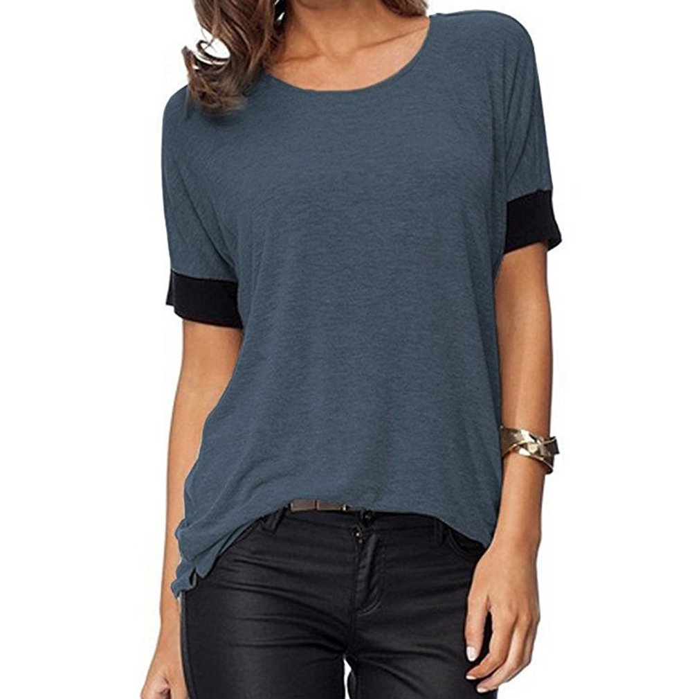 Women's Casual Round Neck Loose Fit Short Sleeve T-Shirt Blouse Tops (Darkgrey, L)