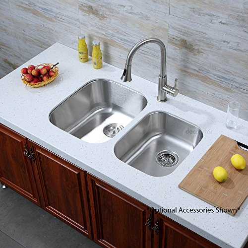 Medium image of decor star p 008 32 inch undermount 60 40 offset double bowl 18 gauge stainless steel kitchen sink cupc