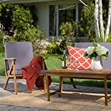 Manarola Patio Furniture ~ 4 Piece Outdoor Patio Conversation (Chat) Set (Natural Wood Finish)