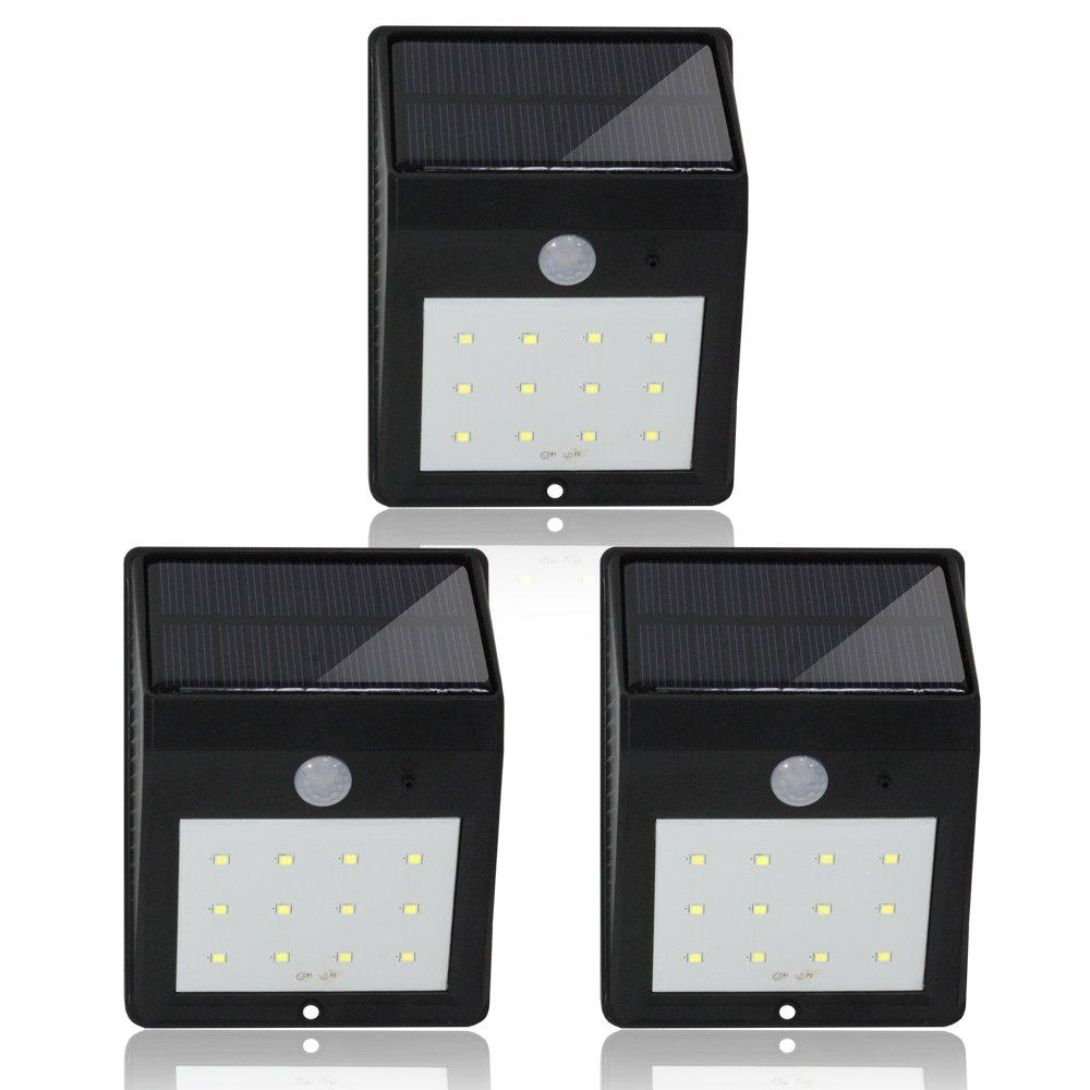 eTopLighting 3 Packs of LED Solar Motion Sensor Outdoor Wall Light with Motion Detector, PIR Sensor, Solar Panel, Water Proof, Heat Proof, High & Dim Light, AGG2006