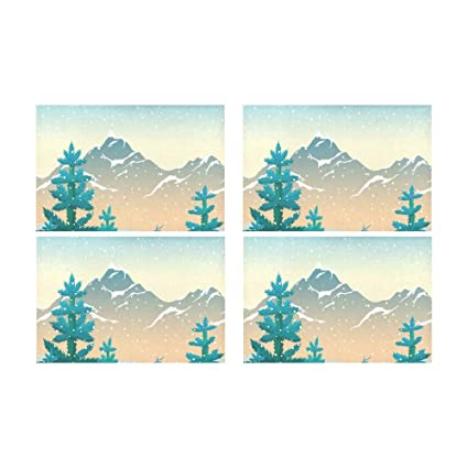 ae3248f61af Snow White Mountain Cold Winter Kitchen Printed Stain Resistant Heat  Insulation Washable Square Table Mat Placemat