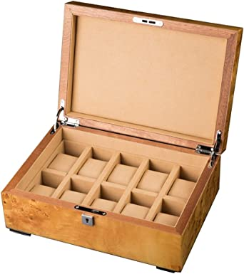 WCX Cajas para Relojes Caja Almacenamiento del Reloj Colección Joyas Estuche Organizador Titular Madera 10 Organizadores Pulsera Rejilla con Cierre Metal (Color : B-31.5x21.8x12cm): Amazon.es: Relojes