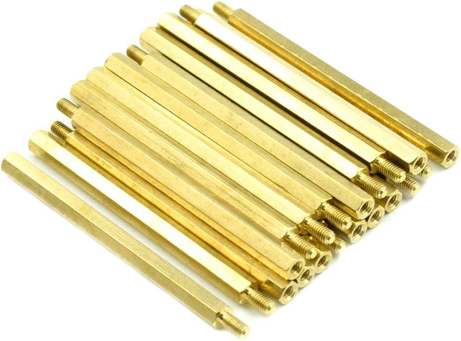 Yohii 50Pcs M3 Female Thread Hexagonal Hex Brass Pillar Standoff Spacer 15mm Long