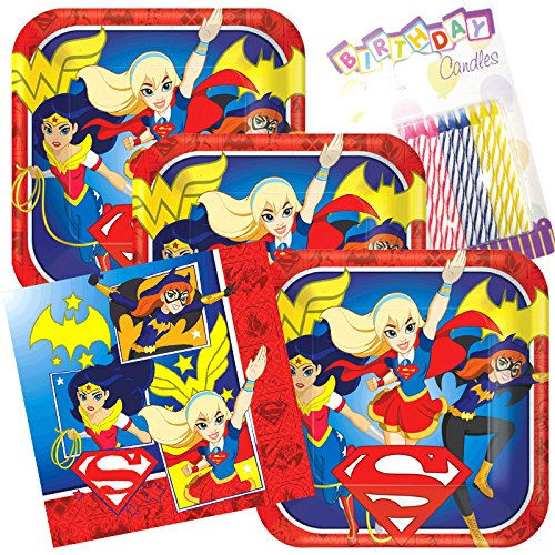 Lobyn Value Pack DC Super Hero Girls Party Plates and Napkins Serves 16 With Birthday Candles