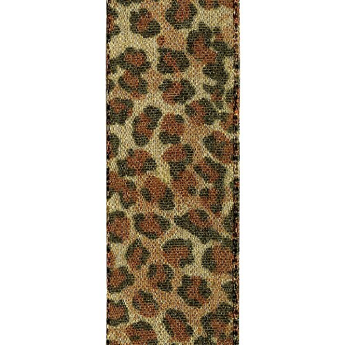 Animal Print Ribbon (Offray Jeweled Cheetah Animal Print Craft Ribbon, 1-1/2-Inch Wide by 25-Yard Spool, Metallic Gold)