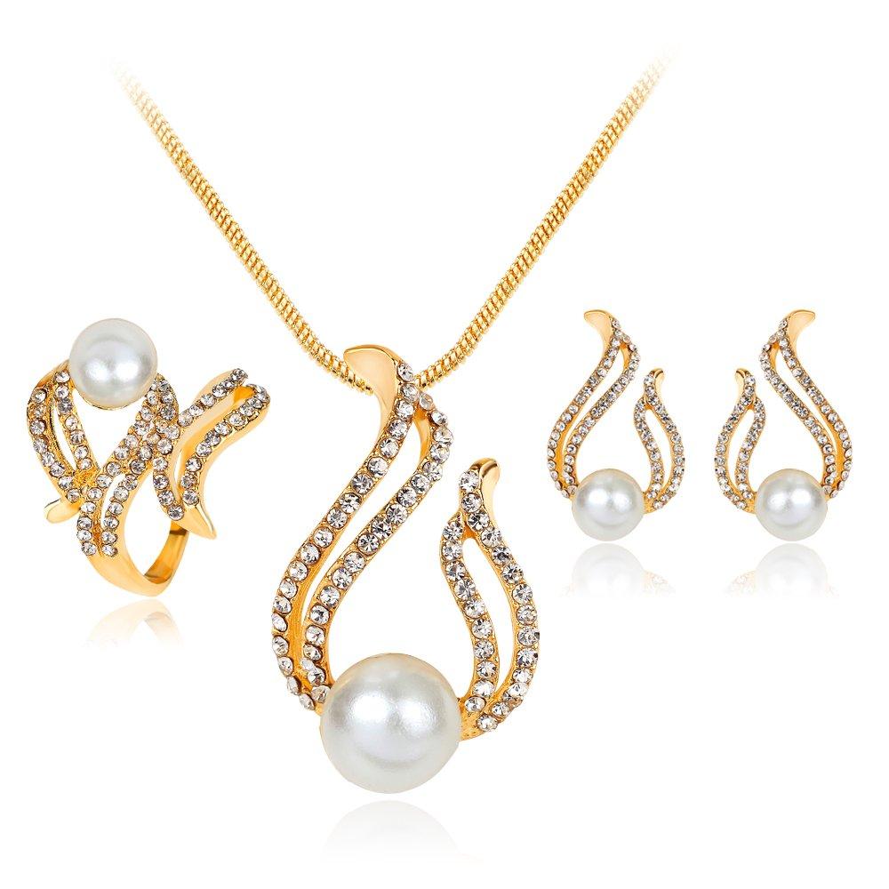Skyllc Simulé Bijoux Perle nuptiale collier pendentif boucles d'oreilles bague sertie pour les femmes