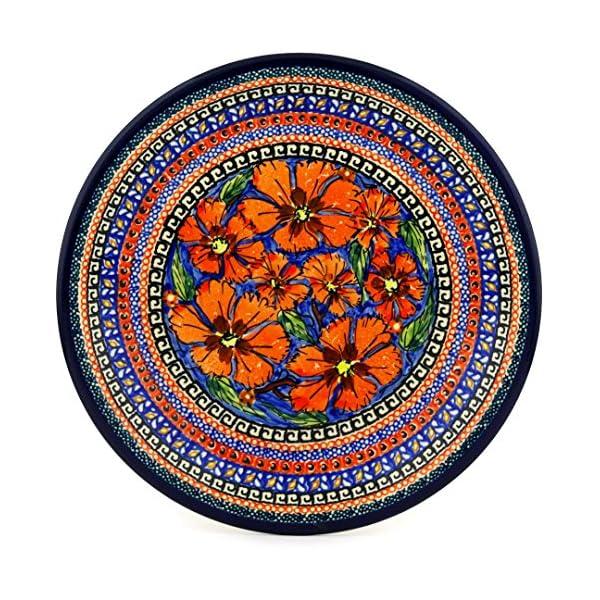 Blue Rose Polish Pottery Jungle Flower Small Dinner Plate