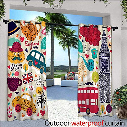 Pull Cab Cup - London Outdoor Privacy Curtain for Pergola Colorful Local Symbols Painting Red Bus Big Ben Tea Pot Cup Umbrella and Retro Cab Thermal Insulated Water Repellent Drape for Balcony W96